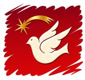 Dove + star. Dove with a christmas star on a red backgroung stock illustration