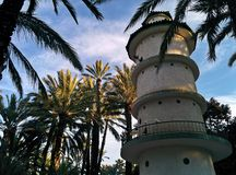 Dove tower. A tower where doves live, surrounded by palmtrees Stock Image