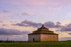 Dovecote built in stone at dusk. In Tierra de Campos, Castilla Spain Stock Photography