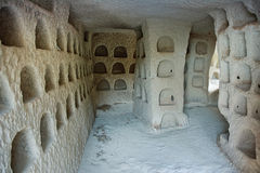 Dovecote inside, which is made in the ancient cave dwellings of people. Pigeon Valley, Cappadocia, Anatolia, Turkey Stock Images