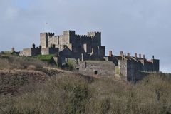 Dover Castle United Kingdom. Seen from the distance on winter day The Dover Castle fortress in England Stock Photo