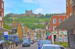 Dover Castle, United Kingdom. Dover is a major ferry port in Kent, South East England. It faces France across the Strait of Dover, the narrowest part of the royalty free stock photos