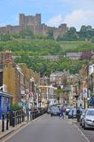 Dover Castle, United Kingdom. Dover is a major ferry port in Kent, South East England. It faces France across the Strait of Dover, the narrowest part of the royalty free stock photo