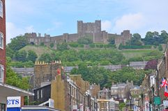 Dover Castle, United Kingdom. Dover is a major ferry port in Kent, South East England. It faces France across the Strait of Dover, the narrowest part of the stock photos