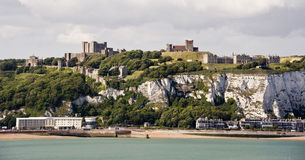 Dover Castle and white cliffs. England Stock Photography