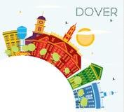 Dover Delaware City Skyline avec les bâtiments de couleur, le ciel bleu et le C illustration stock