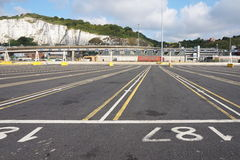 DOVER, KENT, ENGLAND, AUGUST 10 2016: Empty lanes at the embarkation point for the cross channel ferry Stock Images
