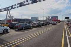 DOVER, KENT, ENGLAND, AUGUST 10 2016: Holidaymakers cars queuing to board the cross channel ferry to France Royalty Free Stock Photography