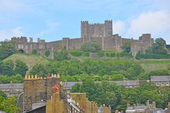 Dover Castle, United Kingdom. Dover is a major ferry port in Kent, South East England. It faces France across the Strait of Dover, the narrowest part of the royalty free stock images