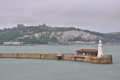 Port of Dover, United Kingdom. Dover is a major ferry port in Kent, South East England. It faces France across the Strait of Dover, the narrowest part of the stock photo