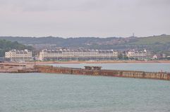 Port of Dover, United Kingdom. Dover is a major ferry port in Kent, South East England. It faces France across the Strait of Dover, the narrowest part of the stock photos