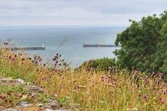 Dover Strait från västra höjder arkivfoton
