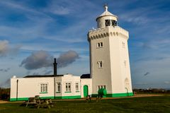 A view of the South Foreland Lighthouse. Dover, United Kingdom, 18th January 2019:- A view of the South Foreland Lighthouse near the Port of Dover over looking royalty free stock photo