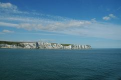 Dover, white cliffs. Chalk cliffs at the english coast, seen from british channel Royalty Free Stock Photos