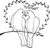 Doves. Wedding doves on the branch vector illustration