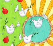 Doves. Stylized peace doves on an abstract background. Hand Drawn with markers and colored pencils Royalty Free Stock Photo