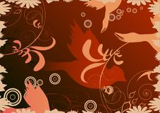Doves. On brown abstract background Stock Image