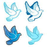 Doves. Four flying dove designs in blue colors Royalty Free Stock Images