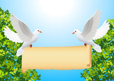 Doves with banner Royalty Free Stock Photography