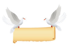 Doves with banner isolated Royalty Free Stock Photos