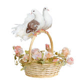 Doves on a basket handle. Two doves on the handle of a basket with wedding flowers Stock Photos