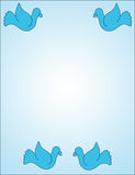 Doves on blue. Dove border on light blue background Stock Image