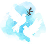 Doves on blue background. Two vector white doves on blue watercolor background, postcard for international peace day vector illustration