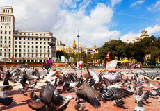 Doves at Catalonia Square   in Barcelona, Spain Royalty Free Stock Photo