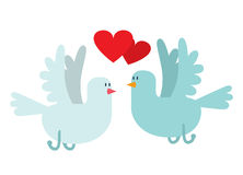 Doves couple with hearts vector icon illustration Royalty Free Stock Photos