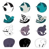 Doves and elephants emblem set Stock Photo