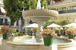 Doves on Fountain in Plaza of the Flowers Stock Image