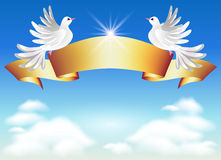 Doves and golden ribbon Stock Photos