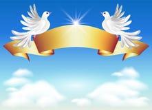 Doves and golden ribbon Stock Illustration