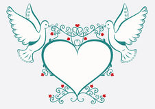 Doves with heart frame Royalty Free Stock Images