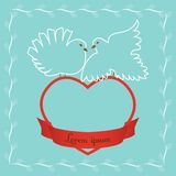 Doves on heart Royalty Free Stock Photography