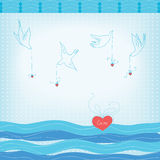 Doves and hearts Royalty Free Stock Photography