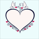 Doves with heartshaped frame. Royalty Free Stock Image