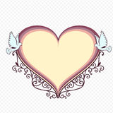 Doves with heartshaped frame. Stock Images