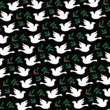 Doves holly and mistletoe pattern on black background vector illustration