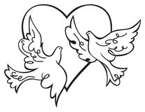 Doves in love. Vector illustration Stock Image