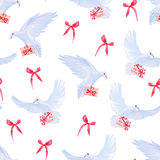 Doves with love mail and bows seamless vector print. Stock Photos