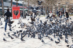 Doves and ordinary people on Konak Square Royalty Free Stock Images