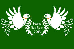 Doves of peace. Decorative Doves of peace with New Year message Royalty Free Stock Image