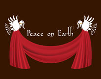 Doves of Peace with Swag curtain. With message stock illustration