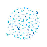 Doves and pigeons set in a circle for peace concept and wedding design. Flying blue birds sketch set. Vector Royalty Free Stock Images