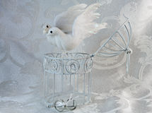 Doves, rings, and Open white cage Royalty Free Stock Photo