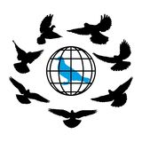 Doves silhouette against the background of globe. World vector Stock Photo