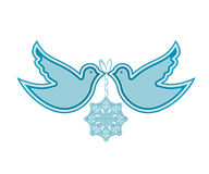 Doves and snowflake stock illustration