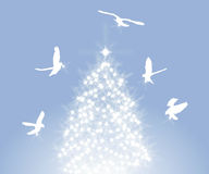Doves and Tree. Illustration of doves decorating sparkling tree stock illustration
