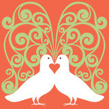 Doves white in love with red heart Royalty Free Stock Photography